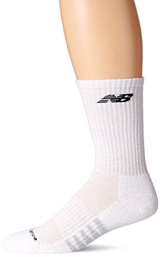 New Balance Men's Unisex 3 Pack Core Cotton Crew Socks,White,Large