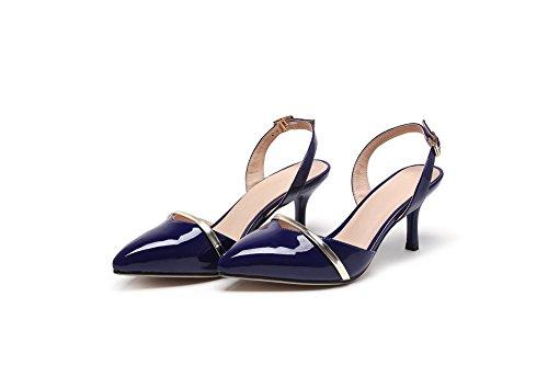 Sandals PU VogueZone009 Heels High Assorted Buckle Toe Closed Blue Color Women's qzBzxUw