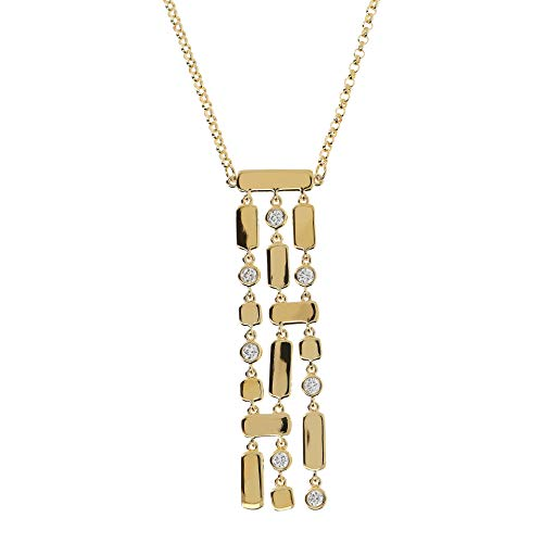 Etrusca Gioielli Women's Three Strands Crystal Drop Necklace 18k Gold-Plated Bronze Necklace Made In Italy (Crystal Three Strand)