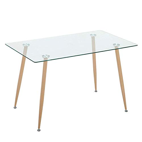 Mecor Dining Table Glass Top and Wooden Look Leg Modern Kitchen Table ()