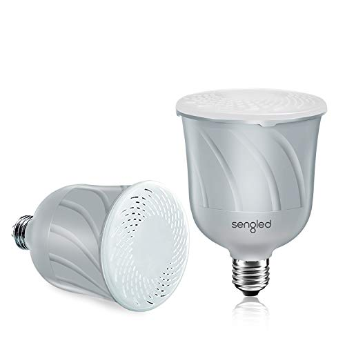Sengled Pulse Dimmable LED Light Bulb with a Built-In Wireless Bluetooth JBL Speaker, Master + Satellite (Pair), Pewter
