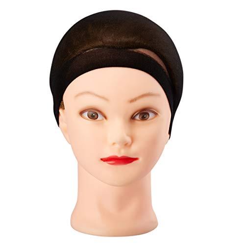 Juvale 12-Pack Deluxe Mesh Breathable Elastic Nylon Wig Stocking Cap, Black