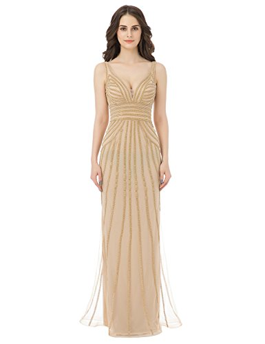 Belle House Champagne Beaded Chain Formal Party Dresses Full Length Bridal Gowns (Full Length Beaded Gown)