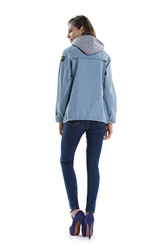 475dcdcc3b14 Women s Loose Fit Hooded Vest Jacket Boyfriend Trends Jeans Parka Two Piece  Denim Trench Coat Light