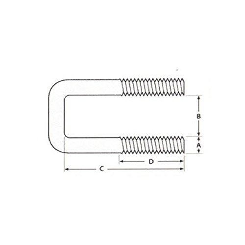 T304 acero inoxidable tama/¤o del paquete: 1 perno C Perno cuadrado M8 x hilo de rosca de 20 mm 31 mm ID x 42 mm IH