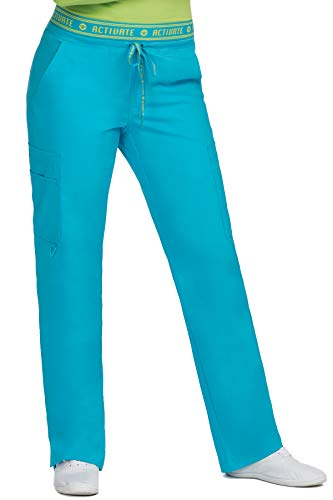 Med Couture Activate Scrub Pants Women, Yoga 2 Cargo Pocket Pant, Large, Sky Blue