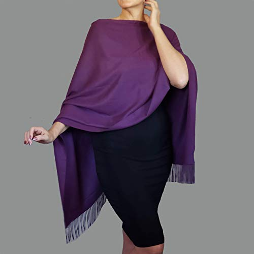 Purple Blue For Her One Size Plus Floral Silk Scarf Poncho Vest