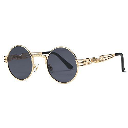 AEVOGUE Sunglasses Steampunk Style Round Metal Frame Unisex Glasses AE0539 (Gold&Black, 48) by AEVOGUE (Image #1)