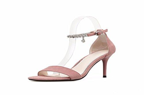 KPHY Pretty/Zapatos de Mujer/Zapatos De Mujer De Verano Taladro Un Par De Sandalias Dedo 9 Cm Zapatos De Tacon Alto Delgado Y Poco Zapatos De Gamuza.Treinta Y Cinco Pink