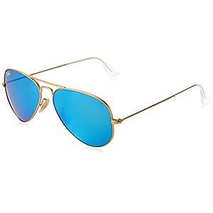 Ray-Ban 3025 Aviator Large Metal Mirrored Non-Polarized Sunglasses, Gold/Blue Flash (112/17), 55mm