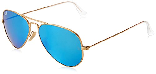 Ray-Ban 3025 Aviator Large Metal Mirrored Non-Polarized Sunglasses, Gold/Blue Flash (112/17), - Ray Glass Ban Aviator Blue