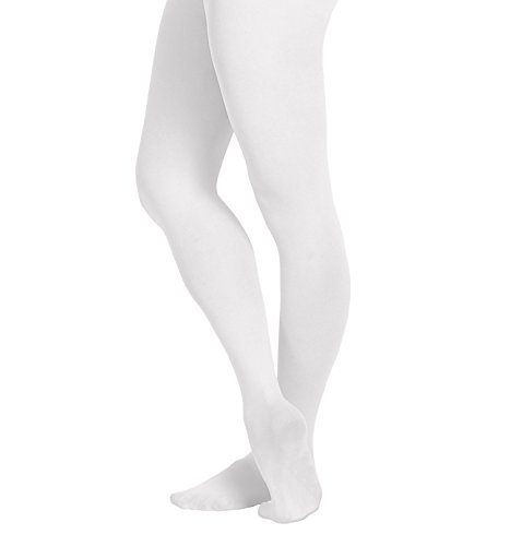 (EMEM Apparel Women's Ladies Solid Colored Opaque Dance Ballet Costume Microfiber Footed Tights Stockings Fashion White D)
