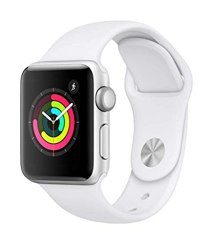 Apple Watch Series 3 38mm Smartwatch (GPS Only, Silver Aluminum Case, White Sport Band) (Renewed)