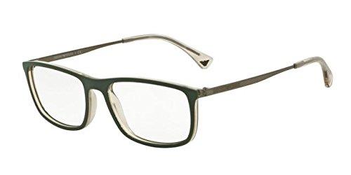 Armani EA3070 Eyeglass Frames 5470-54 - Matte Green/grey Transp (Transp Matte)
