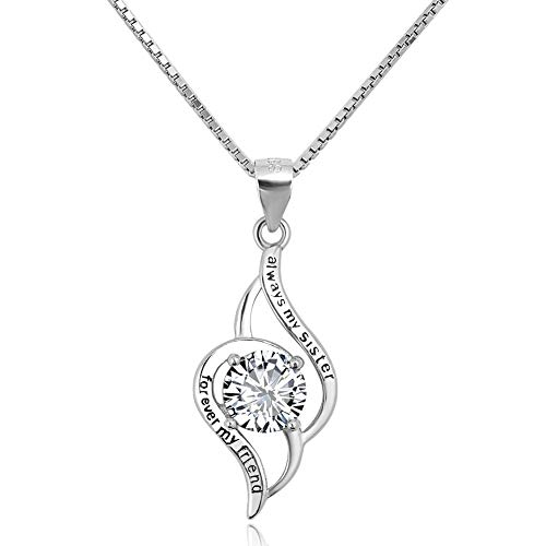 JewelryJo ~ Always My Sister Forever My Friend ~ 925 Sterling Silver Necklace Pendants for Women's Birthday Xmas Gift ()