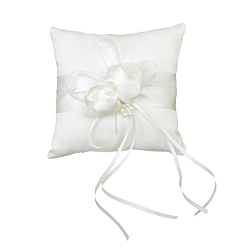 White Double Heart Rhinestone Wedding Ring Pillow 6 inch x 6 inch