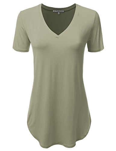 Sage V-neck Shirt (JJ Perfection Women's V-Neck Lightweight Short Sleeve Soft Loose Fit T-Shirt Sage S)