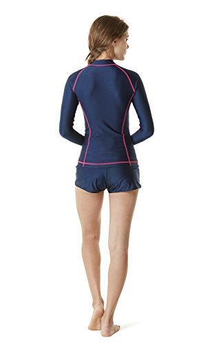 Tesla TM-FSZ01-MGT_Medium Women's UPF 50+ Zip Front Long Sleeve Top Rashguard Swimsuit FSZ01