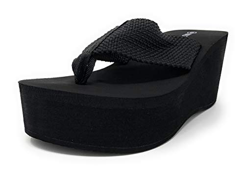Wild Diva Womens Heat High Platform Wedge Flip Flop Sandals,Black,8.5 ()