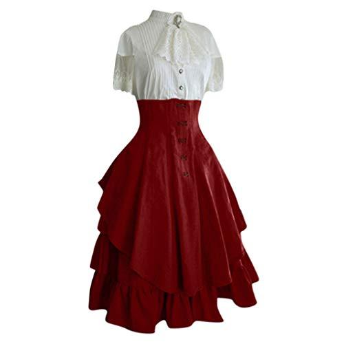 Succper Medieval Dress Retro Corset Stitching lace Openwork Gothic Court Dress Renaissance Dress Skirt Halloween Costume Red (New Irish Dance Solo Dresses For Sale)