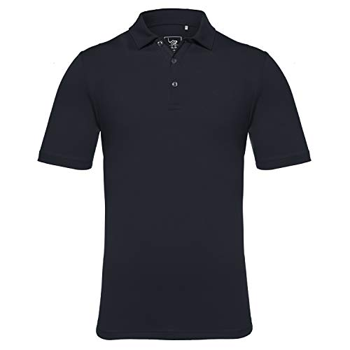 EAGEGOF Men's Regular Fit Golf Polo Shirt Short Sleeve Stretch Quick Dry Performance Polo(Navy, S)