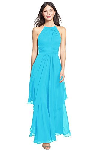 LoveMyth Women's Long Pleated Chiffon Halter Off Shoulder Summer Party Prom Dress Pool 16 by LoveMyth