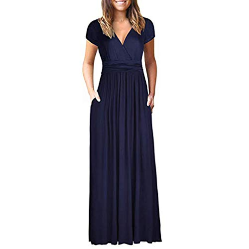Women's Solid Short Sleeve V Neck Long Dress,Casual Loose Plain Maxi Dresses with Pockets (XXL, Navy)