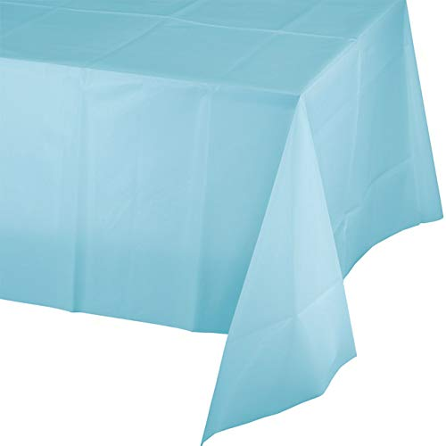Mountclear 12-Pack Disposable Plastic Tablecloths - 54 x 108 Inch Size Table Cover (Light Blue) ()