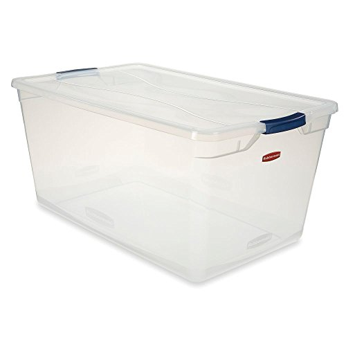 Rubbermaid 3Q35-00-CLMCB Clever Store Latching Storage Tote Container, 95-Quart, Blue Handle ()