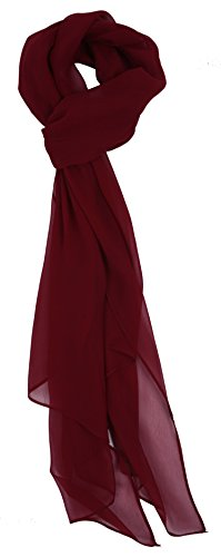 Burgandy Scarf - Love Lakeside Modern Chiffon Solid Color Silk Blend Oblong Scarf Burgundy Red