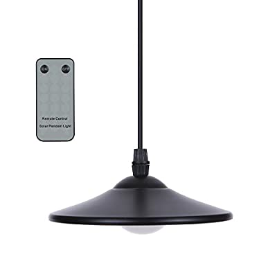 Lixada 3W Solar Powered Hanging Light Solar Pendant Lamp Outdoor 4 LED Shed Light 250lm with Remote Control for Garden Yard Patio Balcony Home Landscape