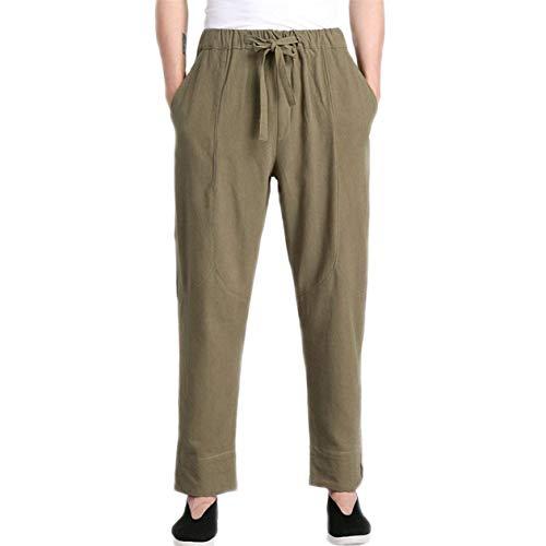 Confortables Tailles Lâche Élastique Dos Lin Mens Dentelle Longs Taille Décontracté Vêtements Pantalon Verts Mode wxBFqIvXn