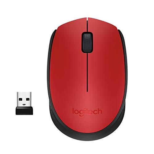 Mouse sem fio Logitech M170 com Design Ambidestro Compacto, Conexão USB e Pilha Inclusa - Vermelho