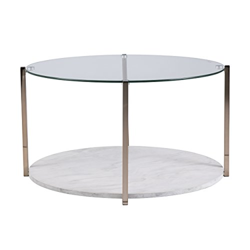 Faux Marble Table w Storage Round – Warm Gold w Gray-Veined Coffee Table