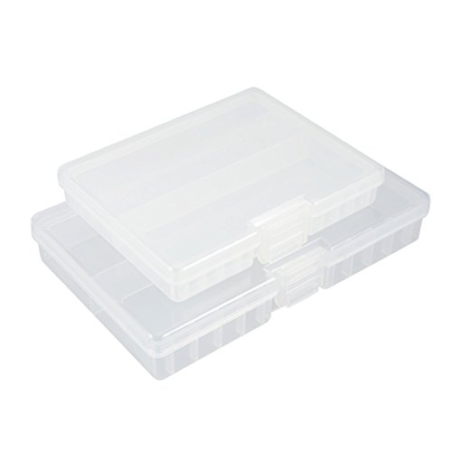 uxcell 2pcs Hard Plastic Clear Portable AAA Battery Storage Box, AA Batteries Container by uxcell