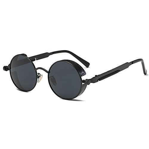 AMZTM Small Round Steampunk Women and Men Sunglasses Metal Frame Mirrored Reflective Lens Polarized Glasses (Black and Grey, 48) for $<!--$12.99-->