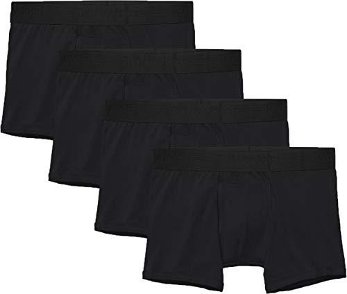 Tommy John Men's Cotton Basics Trunk - 4 Pack - Comfortable Lightweight Soft Underwear for Men (Black, Small)