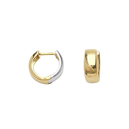 Huggie Earring, 14Kt Gold Two Tone Huggie Earring