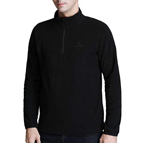 Camel Fleece Jacket Men Long Sleeve Fleece Pullover Sweater Half Zip Outdoor Sports Sweatshirt