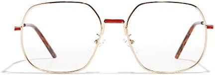 Frauen Mode Metallrahmen Sonnenbrillen, polarisierte Licht Art und Weise schützen die Augen Leichte stark und robust Klare Sichtscheibe, Abendkleid-Partei Brillenfassungen (Color : Gold)