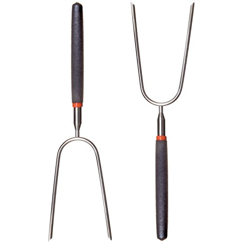 """Price comparison product image RamPro Telescoping Stainless Steel Campfire Forks - Extend to 36"""" - Insulated Handle - (2-Pack)"""