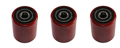 Mighty Lift B035C Polyurethane Load Wheel with Sealed Precision Bearings, 3'' x 3.66'', Red (3-(Pack))