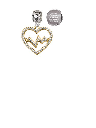 Gold Tone Large Crystal Heart - Heartbeat Best Friend Charm Bead with You Are More Loved Bead (Set of 2)