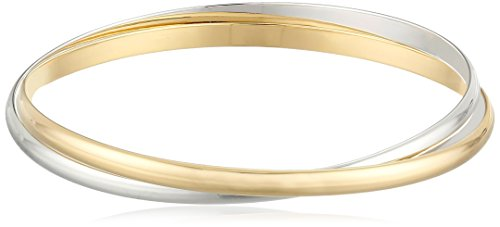 18k Yellow Gold Plated Sterling Silver Two Tone Interlocking Bangle Bracelet, 8