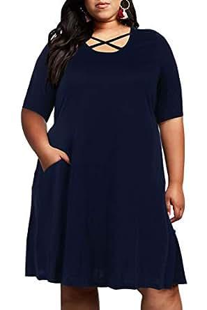 Nemidor Women's Criss Cross Plus Size Casual T-Shirt Swing Dress with Pockets (18, Navy)