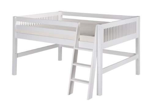 Camaflexi Full Low Loft Bed, Mission Headboard, White - C413