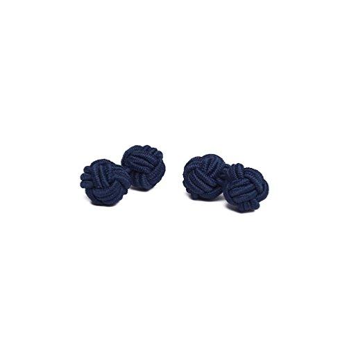 (Jacob Alexander Pair of Solid Color Silk Knot Cufflinks - Navy Blue)