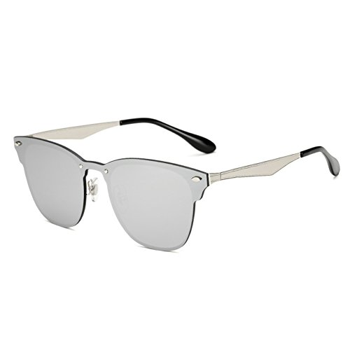 Reflective Frameless Sunglasses Fashion Sunglasses Film QQWWEE Mirror Color Driving Women's Men's Cool Silver wTtav