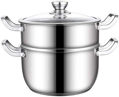 S-TING 鍋 21.5CM - ガラス蓋と鏡面研磨仕上げ、ステンレススチール、三層複合ボトムとの2ティアスチーマー 不沾鍋 鍋子 萬用鍋 炒め鍋 フライパン