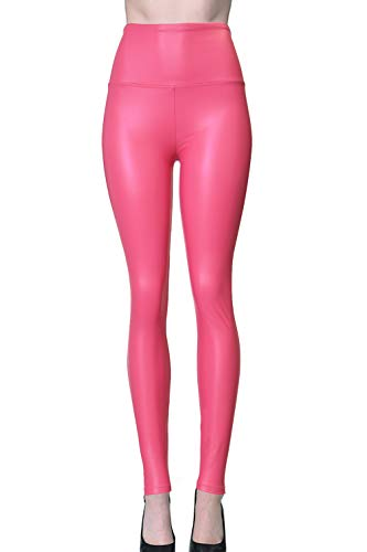 Womens Sexy Tight Fit Faux PU Leather High Waist Leggings (Hot Pink, X) -